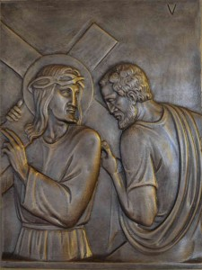 The fifth Station Symon of Cyrene helps Jesus to carry his cross They compelled a passer-by to carry Jesus' cross. Mark 15:21